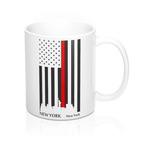CAUTION LINE Premium Apparel Thin Red Line New York City Mug - 11oz - Black / White