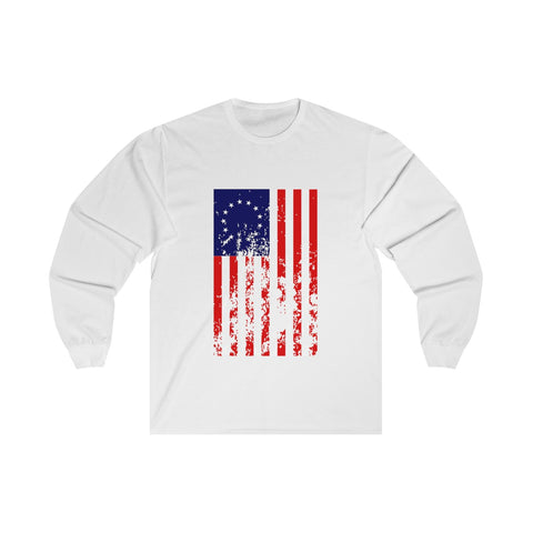 CAUTION LINE Premium Apparel Distressed Betsy Ross Long Sleeve Tee