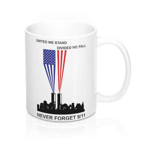 CAUTION LINE Premium Apparel Never Forget 9/11 United We Stand Mug 11oz - White