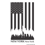 CAUTION LINE Premium Apparel US Flag with New York Skyline (W) Tee
