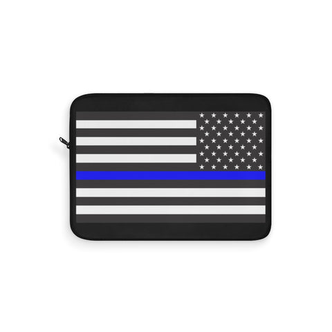 CAUTION LINE Premium Apparel Laptop Sleeve - Thin Blue Line (Black / white)