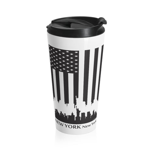 CAUTION LINE Premium Apparel New York Skyline Flag Stainless Steel Travel Mug