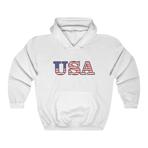 CAUTION LINE Premium Apparel USA Full Color Flag print Unisex Heavy Blend™ Hooded Sweatshirt
