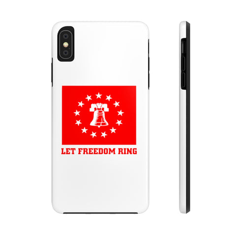 CAUTION LINE Premium Apparel Case Mate Tough Phone Cases - Let Freedom Ring - White with Red