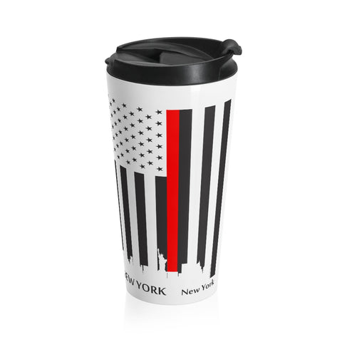 CAUTION LINE Premium Apparel Thin Red Line New York City Stainless Steel Travel Mug