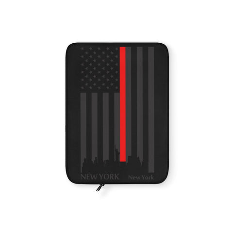 CAUTION LINE Premium Apparel Laptop Sleeve - Thin Red Line (Black Sleeve)