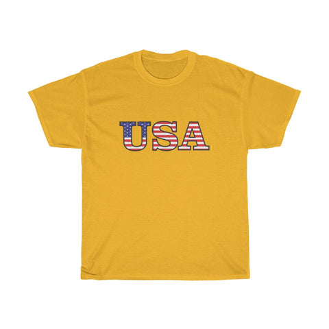CAUTION LINE Premium Apparel USA Flag Text Tee