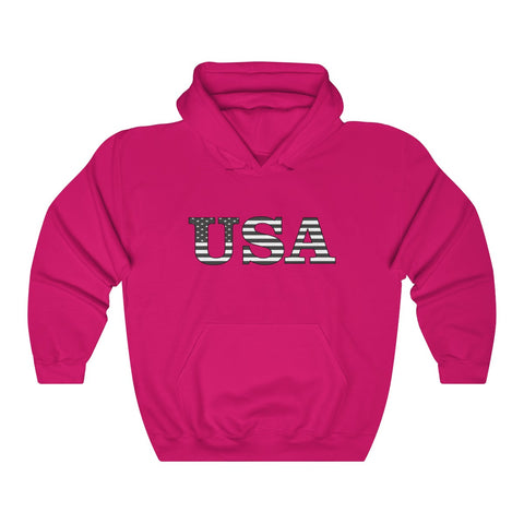 CAUTION LINE Premium Apparel USA B/W Flag print Unisex Heavy Blend™ Hooded Sweatshirt