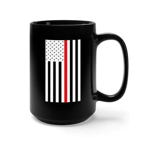 CAUTION LINE Premium Apparel Thin Red Line 15oz Mug - (B/W/R)