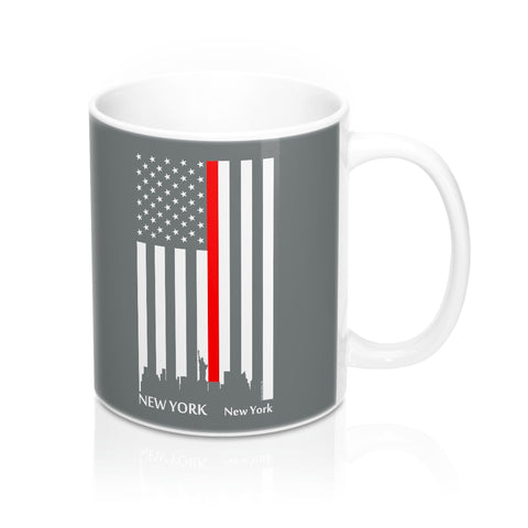 CAUTION LINE Premium Apparel Thin Red Line New York City Mug - 11oz - White / Gray