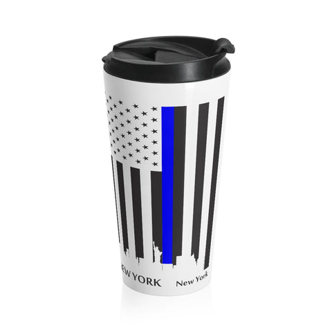 CAUTION LINE Premium Apparel Thin Blue Line New York City Stainless Steel Travel Mug