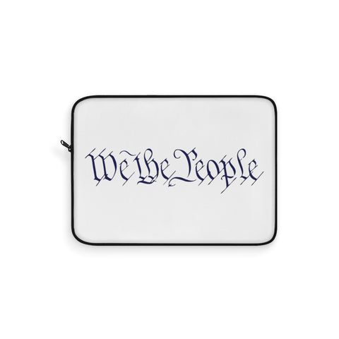 CAUTION LINE Premium Apparel Laptop Sleeve - We The People - Navy (White Sleeve)