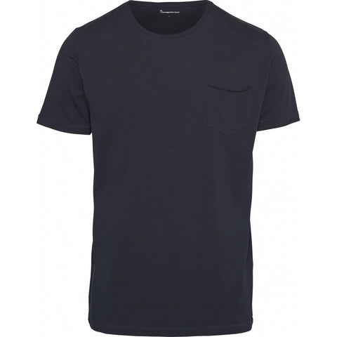 0b4569a88 Knowledge Cotton Apparel Organic Basic Tee with Chest Pocket Total Eclipse