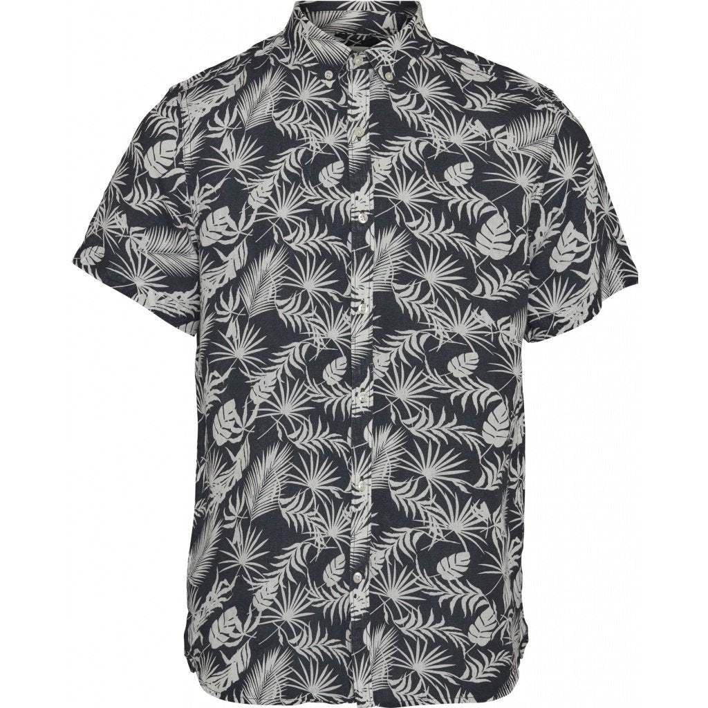 00ff9a02 Knowledge Cotton Apparel Linen Printed Short Sleeved Shirt - Total Eclipse