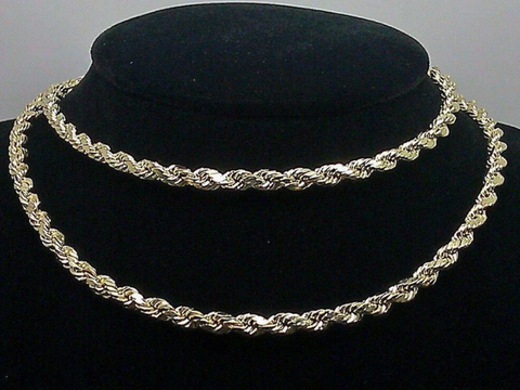 Real 10k Yellow Gold Rope Chain Necklace