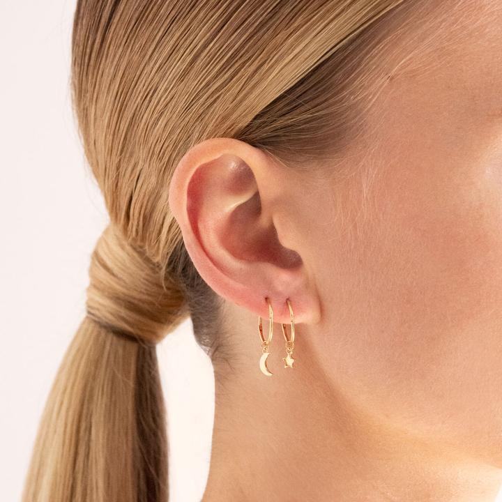 Star & Moon Sleeper Hoop Earring-Linda Tahija-m a g n o l i a | home