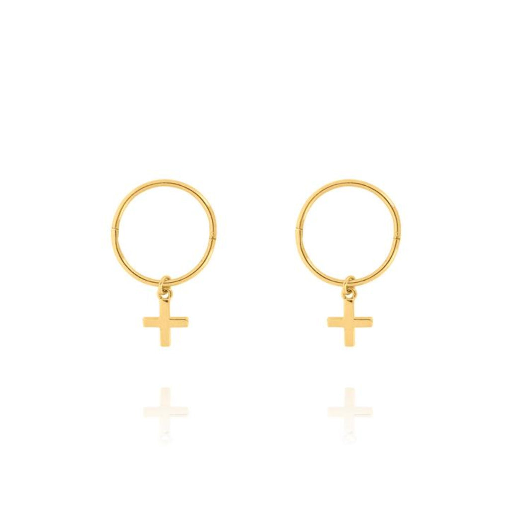 Cross Sleeper Hoop Earring-Linda Tahija-m a g n o l i a | home