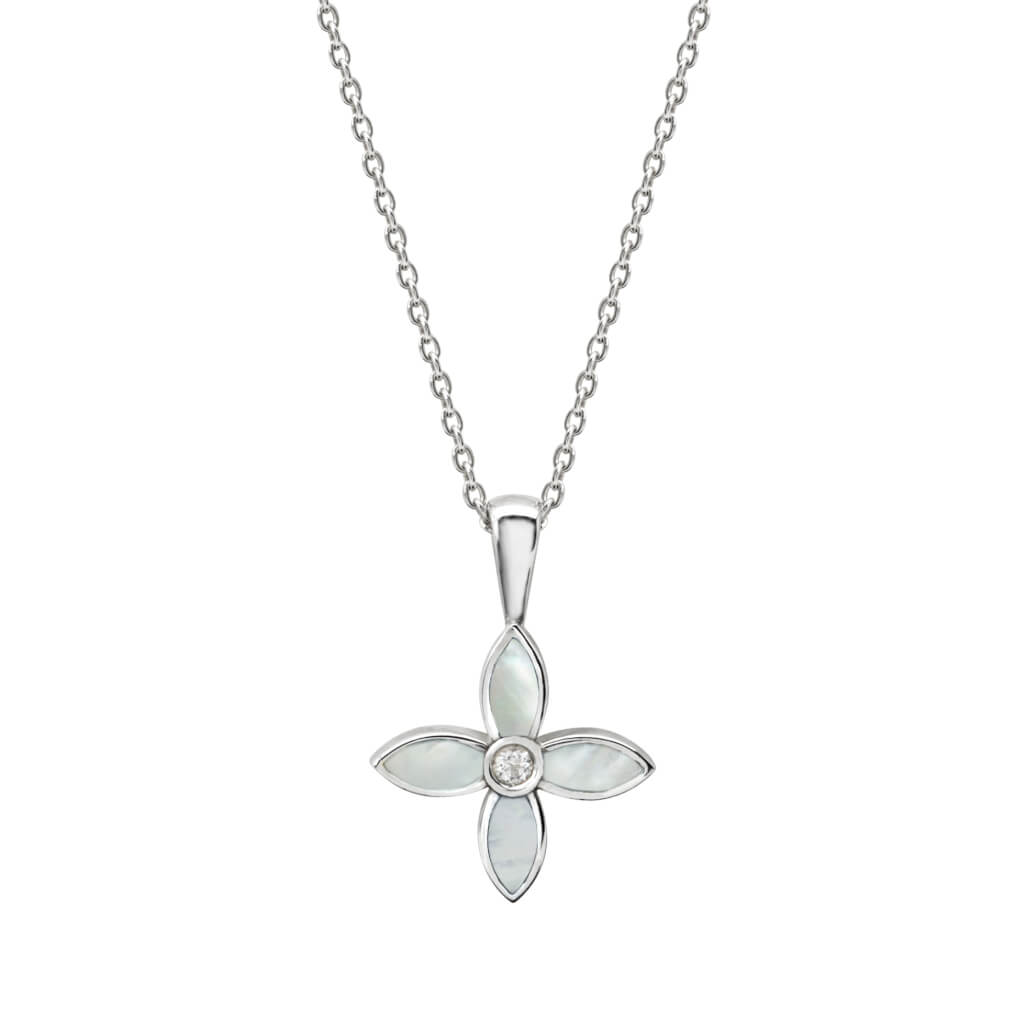Mother of Pearl White Topaz Necklace