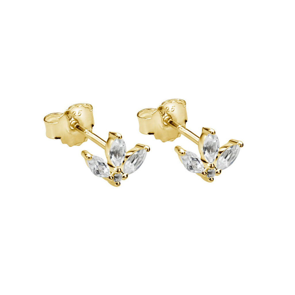 Lotus Stud Earring With White Topaz