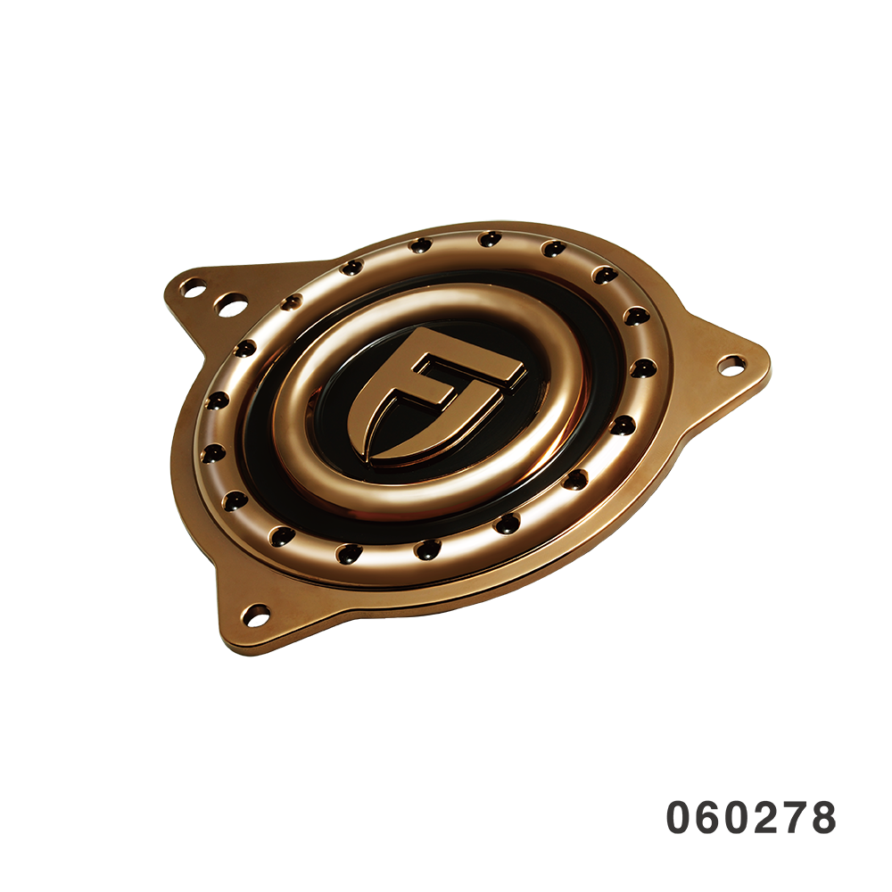 DIMPLE SPORTSTER SPROCKET COVER FANGSTER GOLD