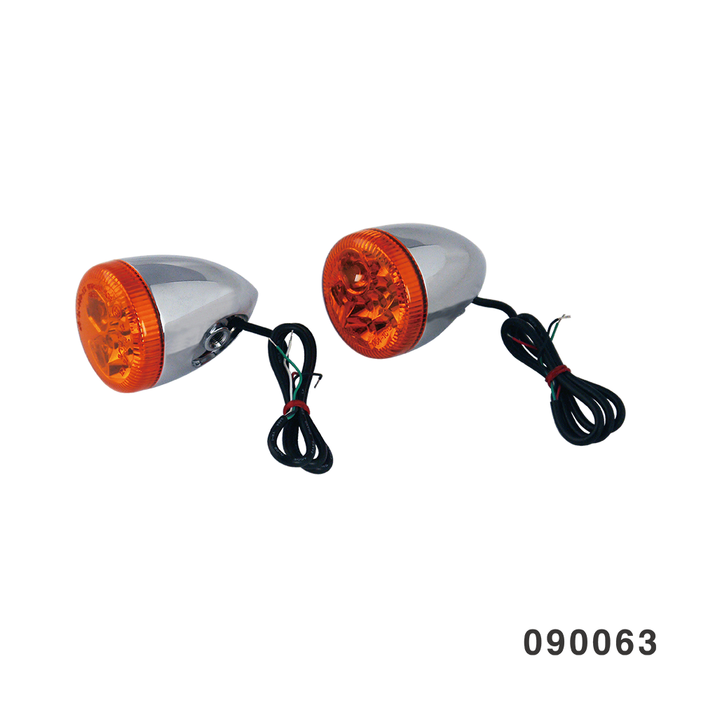 3 IN 1 LED TURN SIGNAL COMBO CHROME W/ AMBER LENS HOLLOW