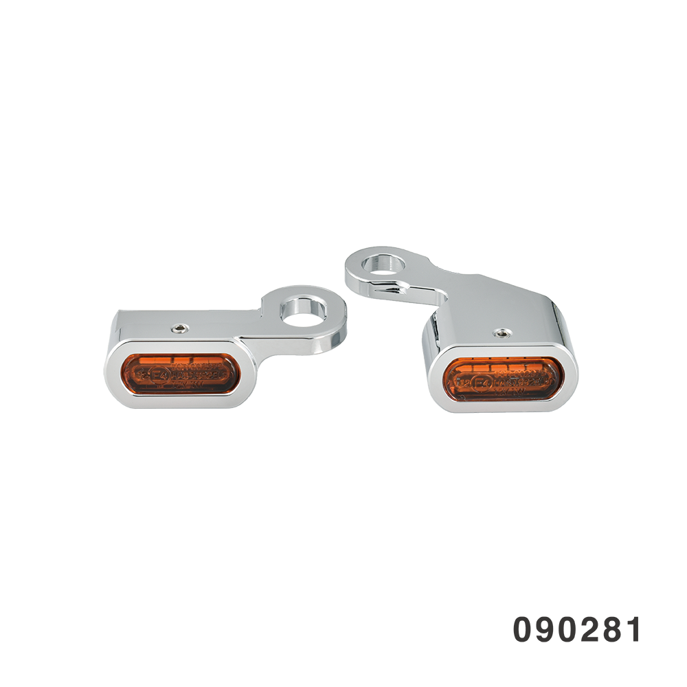 LED HANDLEBAR MARKER LIGHTS CHROME AMBER SOFTAIL DYNA