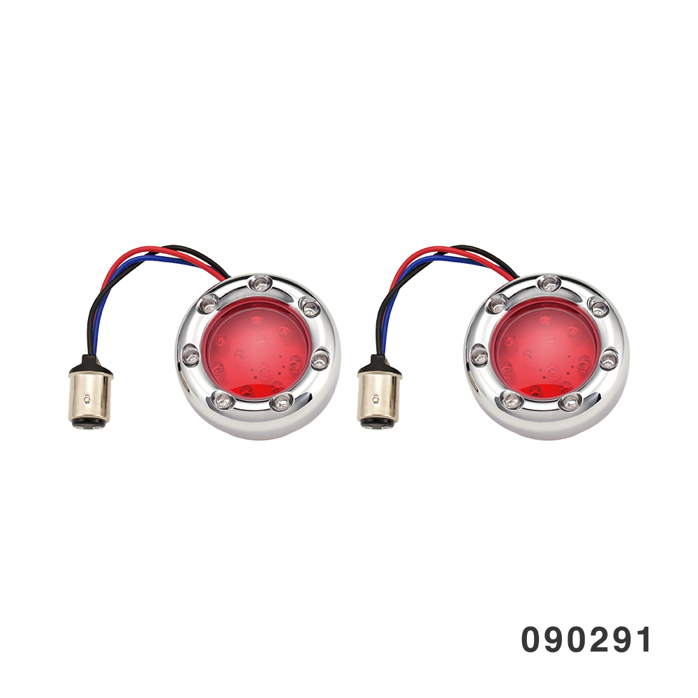 BULLET BEZEL TURN SIGNAL INSERTS CHROME  RED LENS