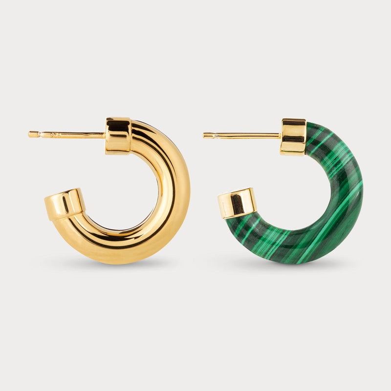 Half Full Malachite Hoops