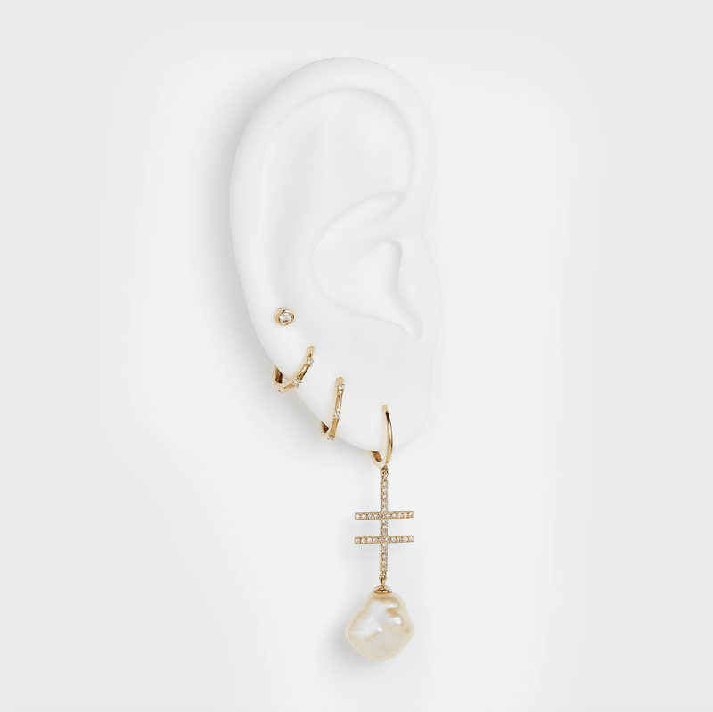 Double Crossing Earring with Pearl (Made to Order)