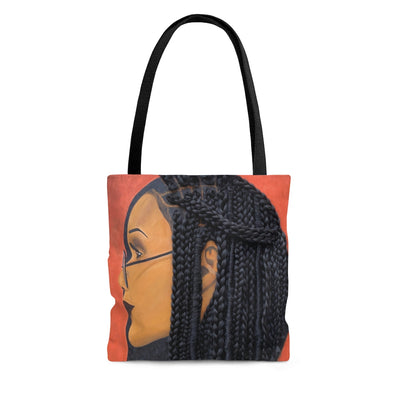 tote bag, hand bag, bag, purse, Harmony 3D Hair Art Orange background with asymmetrical box braids and glasses. Black art, 3D Hair art, natural hair art