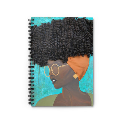 notebook, journal, stationary, paper, art, Dreamer 3D Hair Art Blue background with curly hair and an orange head scarf with gold jewelry, and glasses. Black art, 3D Hair art, natural hair art