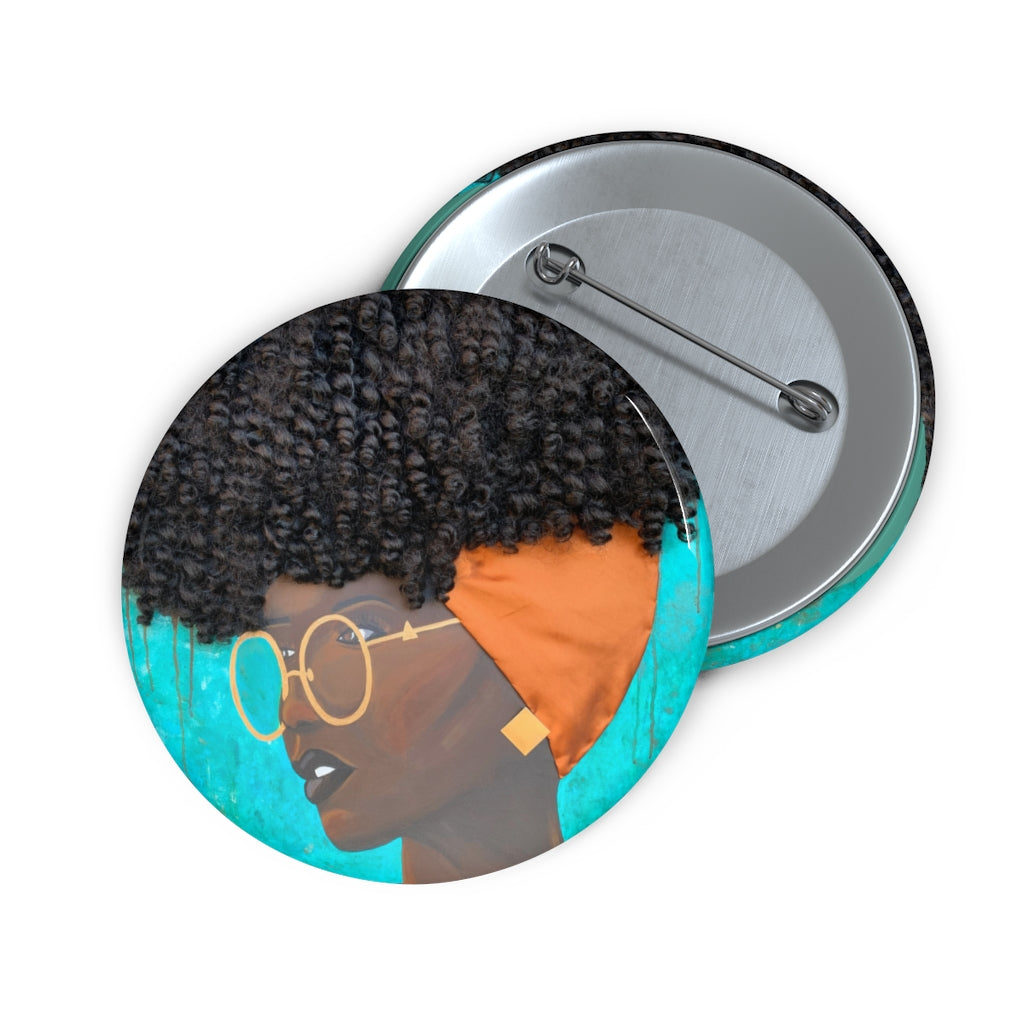 button, pin, art, Dreamer 3D Hair Art Blue background with curly hair and an orange head scarf with gold jewelry, and glasses. Black art, 3D Hair art, natural hair art