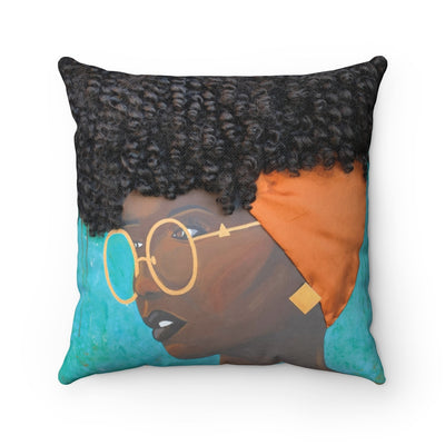 Pillow, pillow case, throw pillow, decor, home, art, Dreamer 3D Hair Art Blue background with curly hair and an orange head scarf with gold jewelry, and glasses. Black art, 3D Hair art, natural hair art