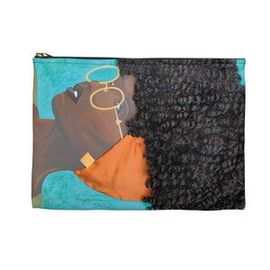 pouch, bag, makeup bag, pencil bag, wallet, purse, art, Dreamer 3D Hair Art Blue background with curly hair and an orange head scarf with gold jewelry, and glasses. Black art, 3D Hair art, natural hair art