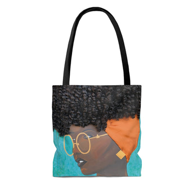 tote bag, hand bag, bag, purse, art, Dreamer 3D Hair Art Blue background with curly hair and an orange head scarf with gold jewelry, and glasses. Black art, 3D Hair art, natural hair art