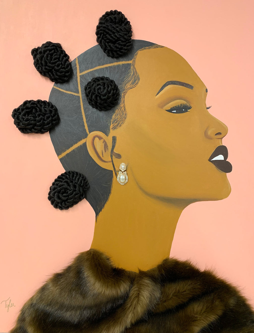 This is a painting of a woman with natural hair in bantu knots and she is wearing a faux fur coat with a beautiful pearl earring.  This is black girl magic, natural hair, black beauty, pink.