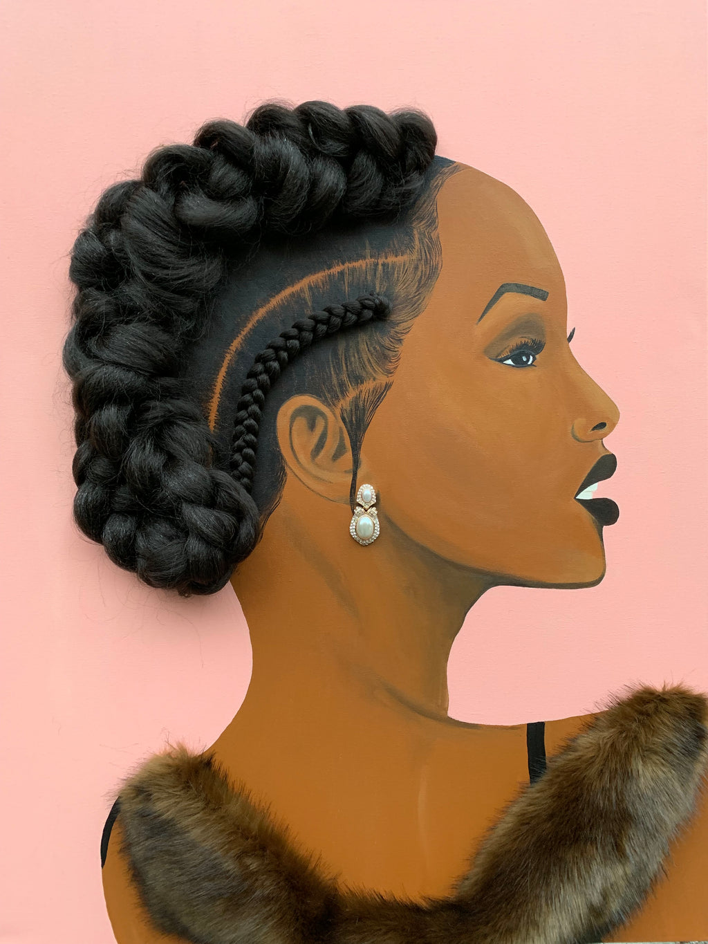 Canvas Print of a 'Elegant', featuring a woman with braided hair and fur. This print has real hair added!  Mixed media: Hair, ready to hang canvas print.  This Item will take approximately 3-4 weeks to receive. This is a made to order item.
