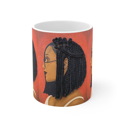 mug, cup, coffee mug, Tea cup, Harmony 3D Hair Art Orange background with asymmetrical box braids and glasses. Black art, 3D Hair art, natural hair art