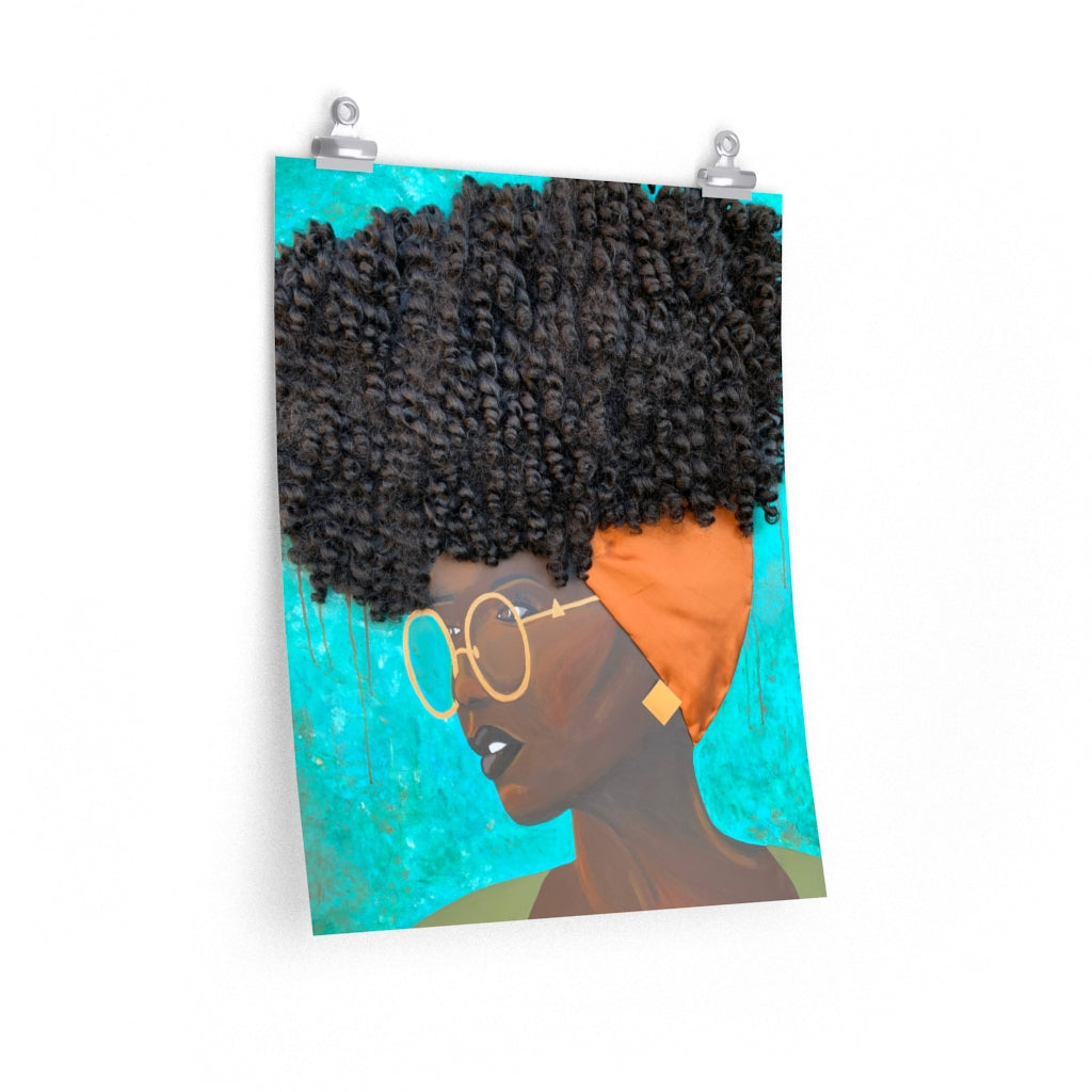 print, decor, home, art, Dreamer 3D Hair Art Blue background with curly hair and an orange head scarf with gold jewelry, and glasses. Black art, 3D Hair art, natural hair art
