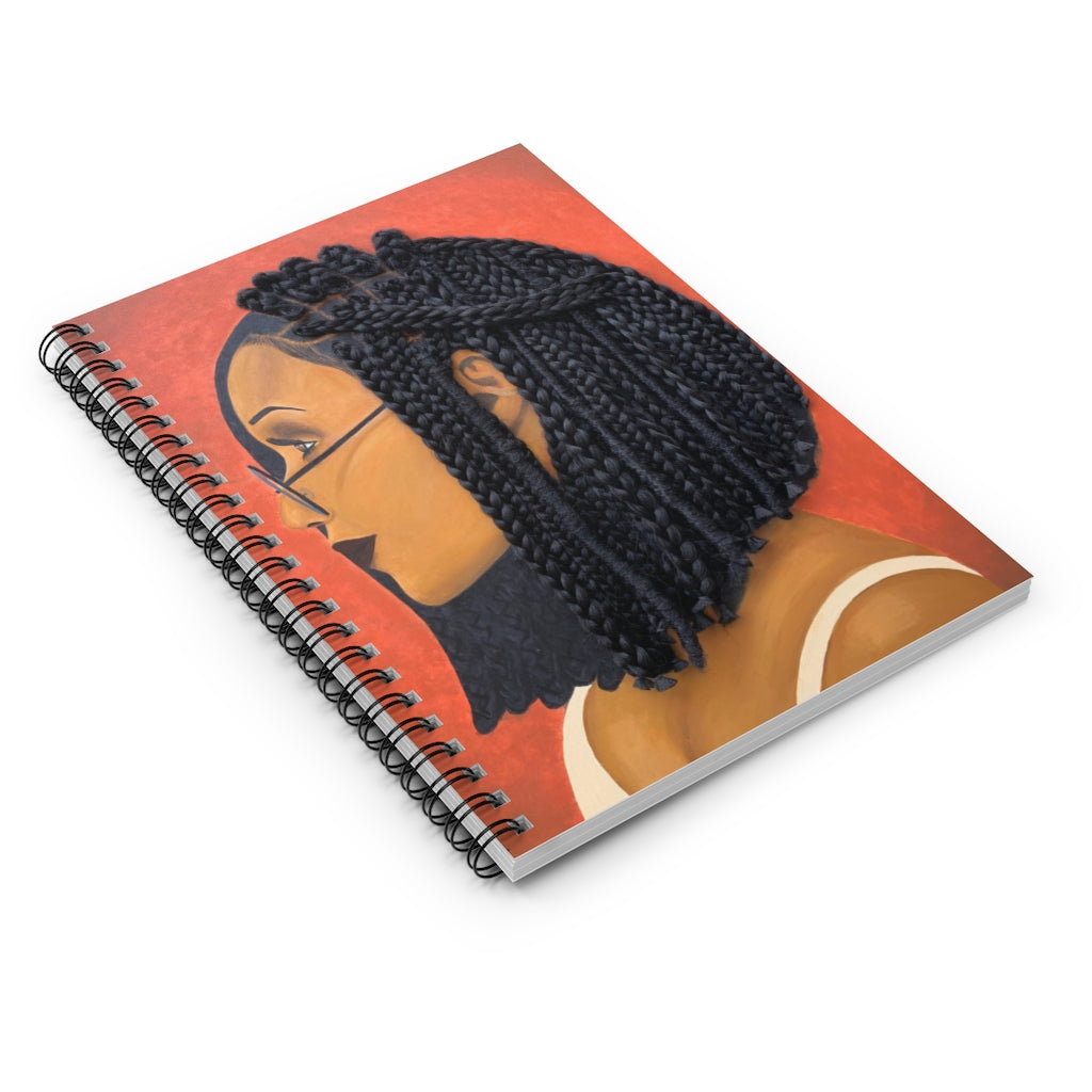 Notebook, journal, stationary, paper, Harmony 3D Hair Art Orange background with asymmetrical box braids and glasses. Black art, 3D Hair art, natural hair art