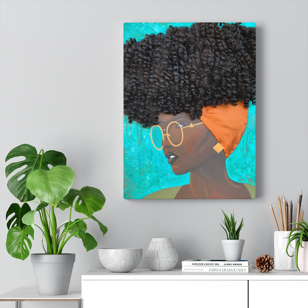 canvas, wall art, decor, home, stretched canvas, art, Dreamer 3D Hair Art Blue background with curly hair and an orange head scarf with gold jewelry, and glasses. Black art, 3D Hair art, natural hair art