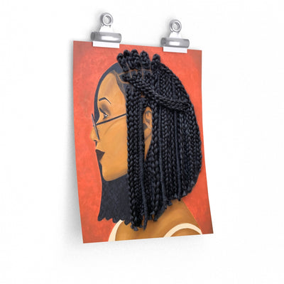 Print, decor, home Harmony 3D Hair Art Orange background with asymmetrical box braids and glasses. Black art, 3D Hair art, natural hair art