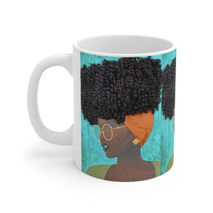 mug, cup, coffee mug, tea cup, art, Dreamer 3D Hair Art Blue background with curly hair and an orange head scarf with gold jewelry, and glasses. Black art, 3D Hair art, natural hair art