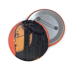 Button, pin Harmony 3D Hair Art Orange background with asymmetrical  box braids and glasses. Black art, 3D Hair art, natural hair art, melanin