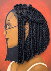 Harmony 3D Hair Art Orange background with asymmetrical  box braids and glasses. Black art, 3D Hair art, natural hair art, melanin