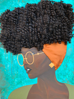 shirt, tee, top, art, Dreamer 3D Hair Art Blue background with curly hair and an orange head scarf with gold jewelry, and glasses. Black art, 3D Hair art, natural hair art