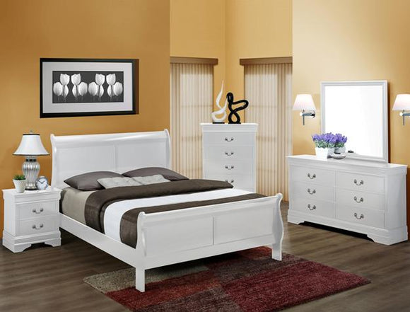CROWN MARK WHITE LOUIS PHILIP QUEEN BEDROOM SET
