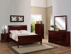 CROWN MARK CHERRY LOUIS PHILIP QUEEN BEDROOM SET