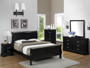 CROWN MARK BLACK LOUIS PHILIP QUEEN BEDROOM SET
