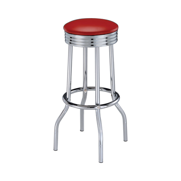 Coaster Upholstered Top Bar Stools Red And Chrome
